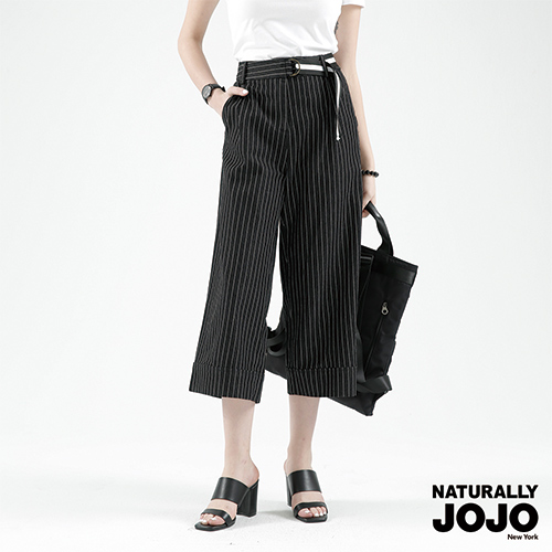 【NATURALLY JOJO】 時尚條紋牛仔寬褲 (黑)