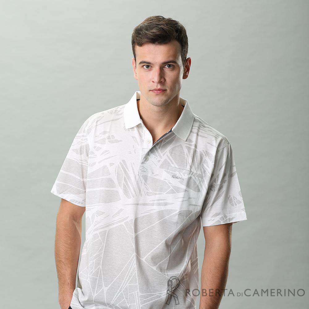 ROBERTA諾貝達 台灣製 帥氣休閒 抗UV 純棉短袖POLO棉衫 白色