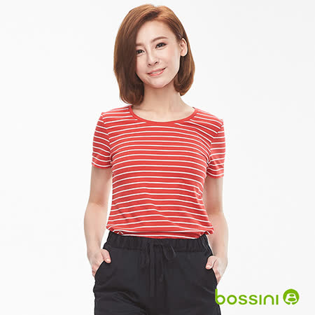 bossini女裝 條紋彈性圓領T恤