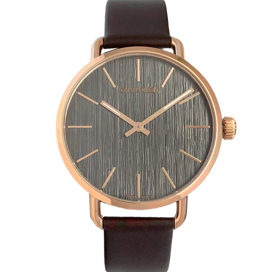 CK 腕錶 K7B216G3 Calvin Klein EVEN系列 玫瑰金框 岩紋灰黑面咖啡皮帶 男錶