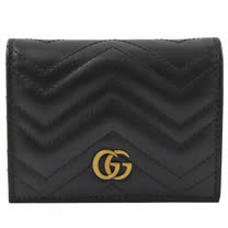 GUCCI  Marmont 絎縫紋牛皮金屬LOGO扣式短夾.黑