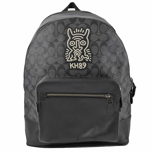 COACH Keith Haring 聯名限量雙層後背包.黑灰