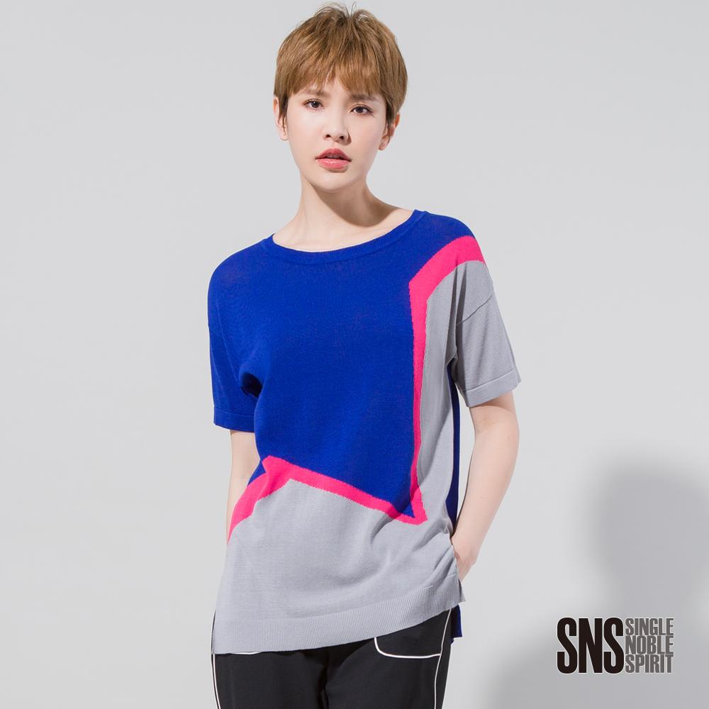 SNS 星星設計感配色針織衫(2色)