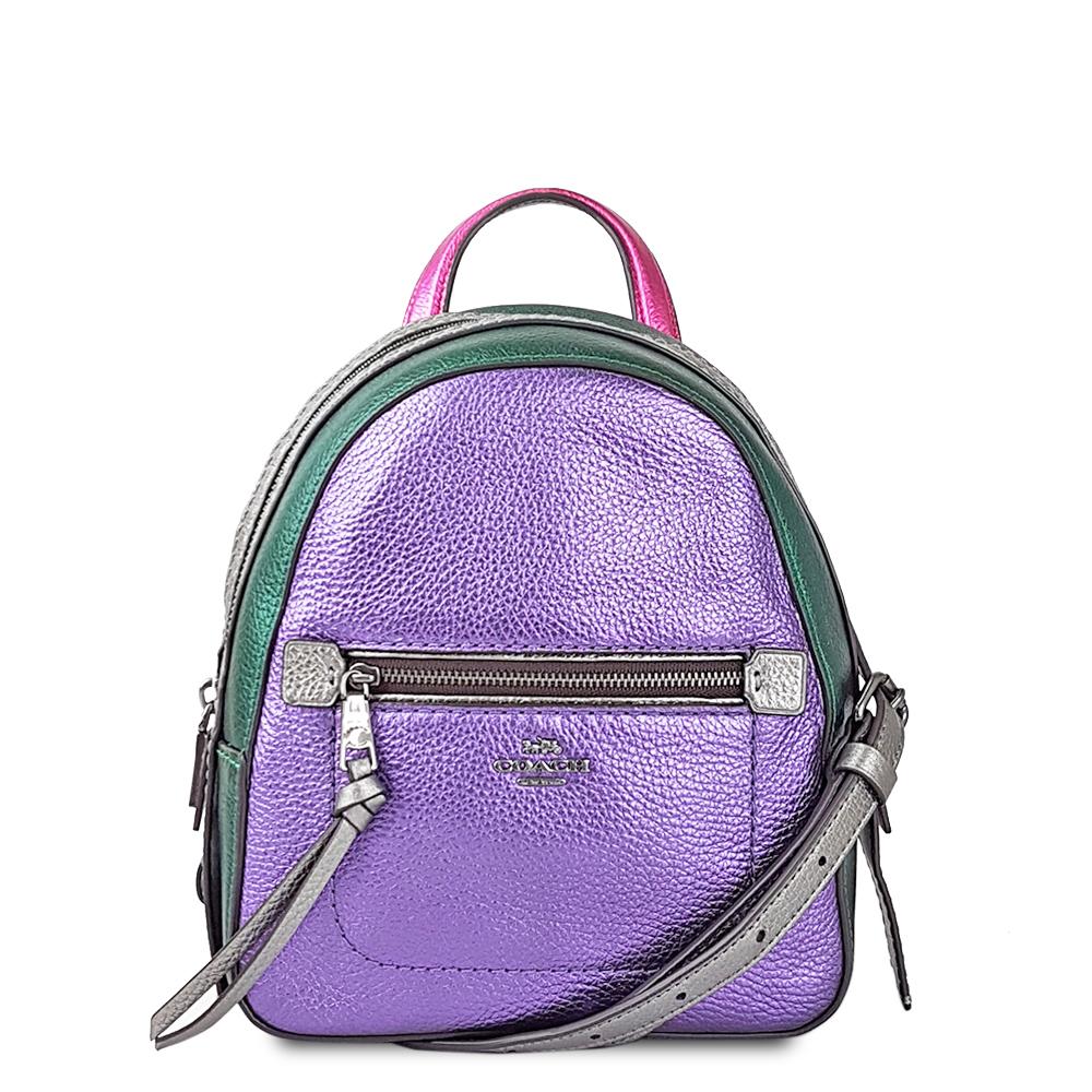 COACH 素面光感拼接色調斜背/後背兩用包-璀璨紫/灰