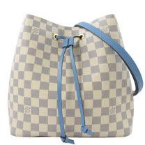 Louis Vuitton LV N40153 Neonoe 白棋盤格紋肩斜兩用水桶包.牛仔藍 _現貨