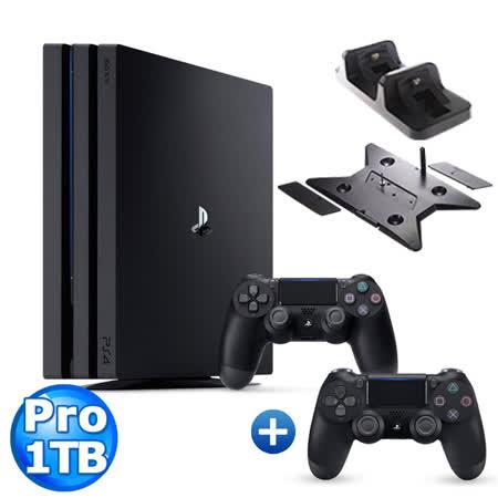 PS4 PRO 1TB +第二隻手把+直立架+DOBE座充