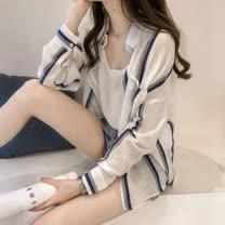 adora 條紋寬鬆雪紡服超薄開衫小外套(2色)