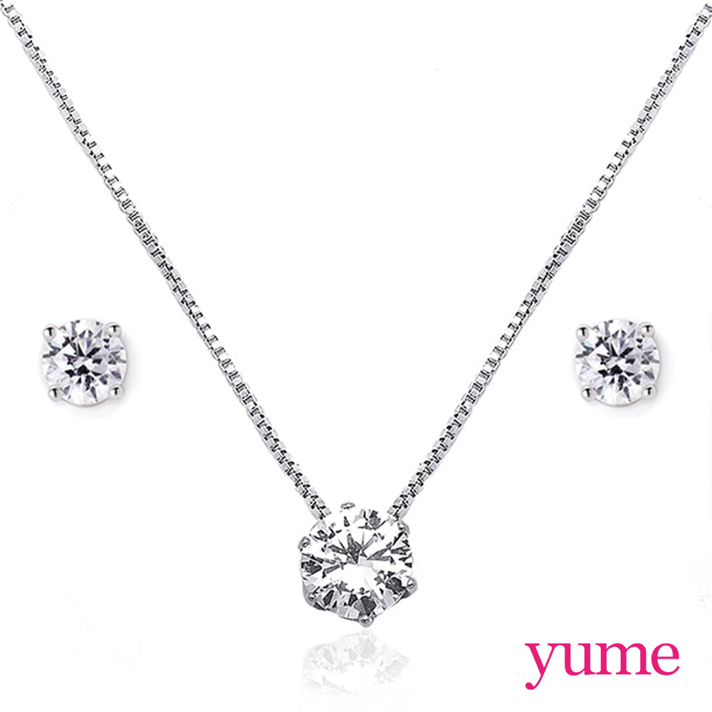 【YUME】克拉戀人套組 (項鍊+4mm單鑽耳環)