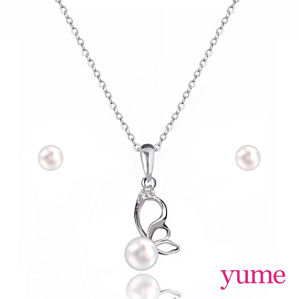 【YUME】蝶戀套組 (項鍊+5mm珍珠耳環)