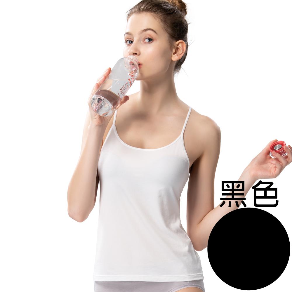 【思薇爾】E-SOFT系列M-XL素面細肩帶長背心(黑色)