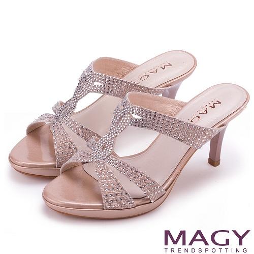 MAGY 時尚優雅名媛 燙鑽造型細高跟涼拖鞋-粉色