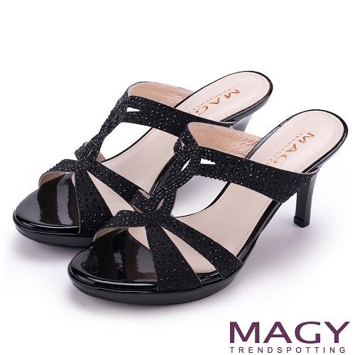 MAGY 時尚優雅名媛 燙鑽造型細高跟涼拖鞋(黑色)