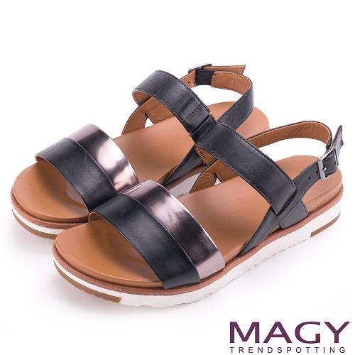 MAGY  樂活夏日 經典雙帶真皮撞色平底涼鞋(黑色)