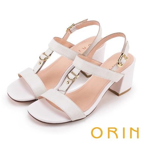 ORIN  夏日簡約時尚 皮帶釦環壓紋牛皮粗高跟涼鞋(白色)