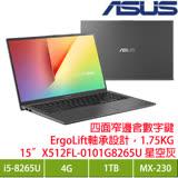 ASUS X512FL-0101G8265U 星空灰窄邊框輕薄筆電/i5-8265U/MX250 2G/4G/1TB/15.6吋FHD/W10 限量加贈三年趨勢防毒