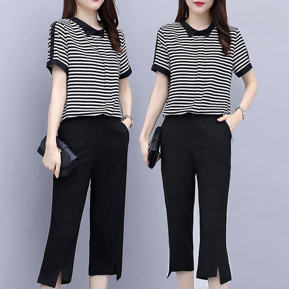 麗質達人(XL-5XL)黑色條紋上衣+七分褲4819176