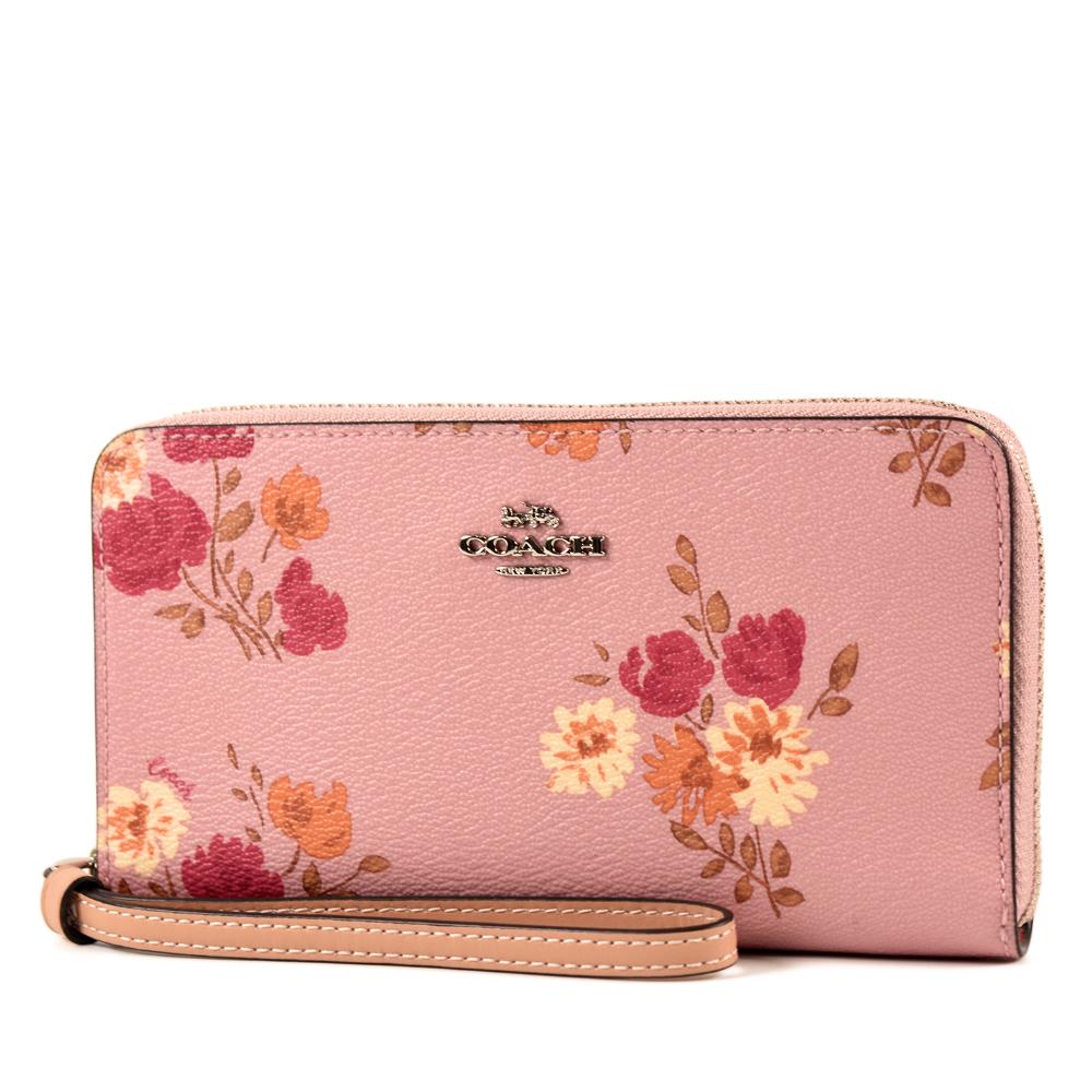 COACH 立體馬車花卉防刮皮革掛帶手拿長夾/手機包-粉色