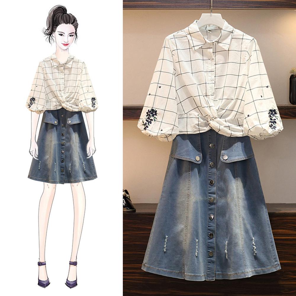 麗質達人(XL-5XL)繡花上衣+牛仔裙二件組3115