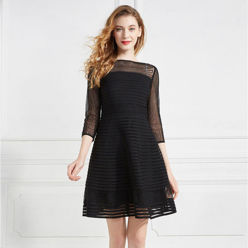 Olivia奧莉精品 高雅黑坑條釘珠紋修身蕾絲洋裝 M~4XL 洋裝 連身裙 禮服 伴娘服 媽媽裝