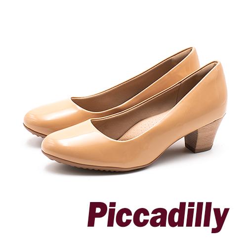 Piccadilly 質感木紋 優雅OL中跟女鞋 - 奶茶棕(另有黑)