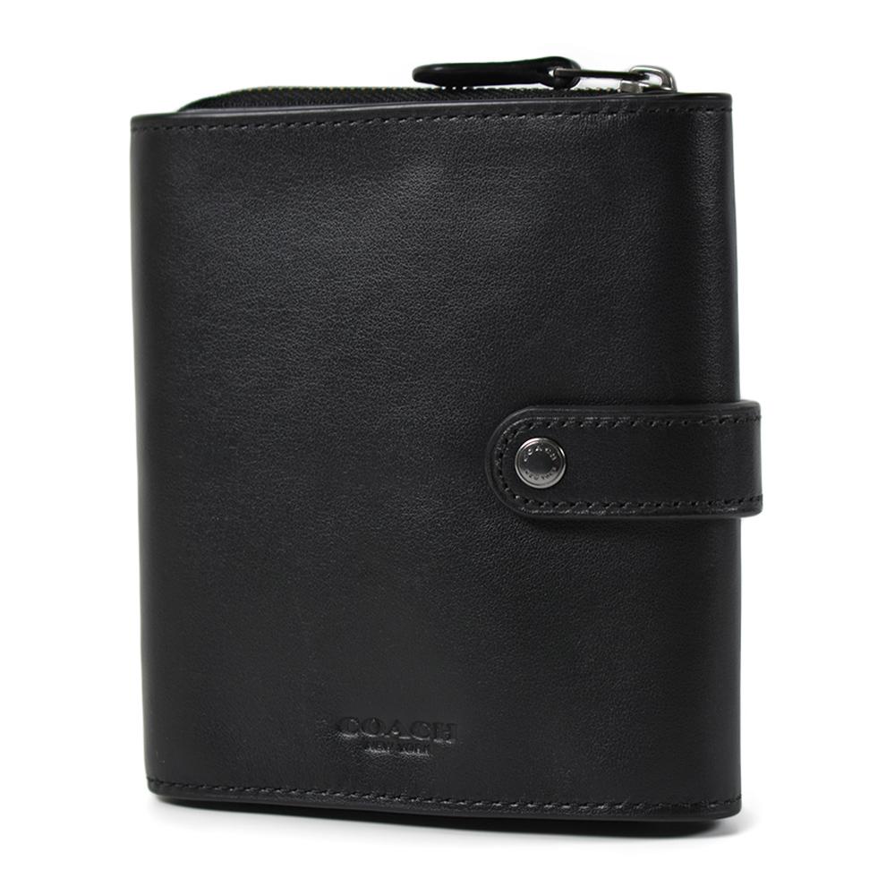 COACH 男款 小牛皮三折釦式卡片/名片收納包-黑色