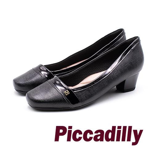 Piccadilly 時尚登場 小方頭異材質低調蛇紋淑女跟鞋 -黑