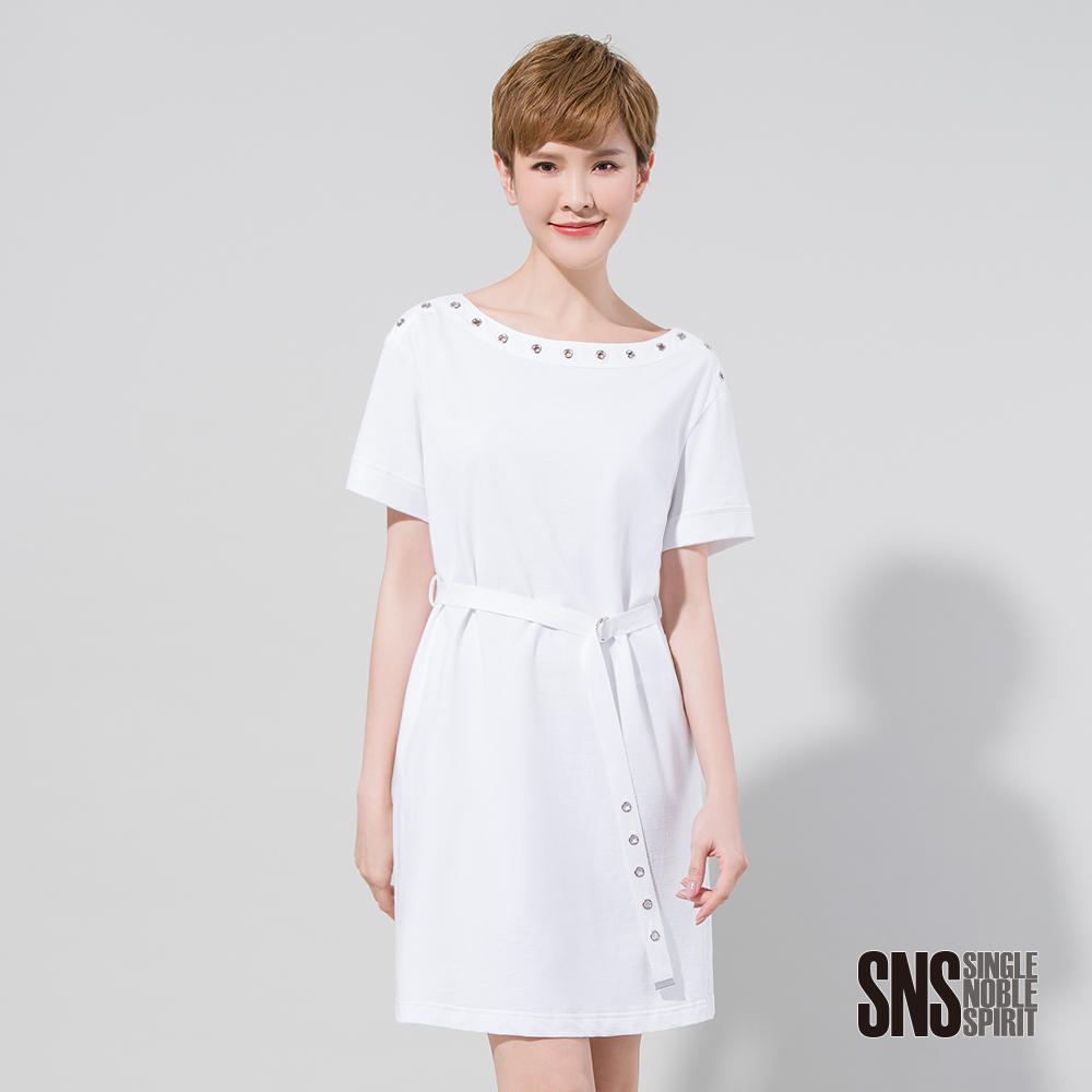 SNS 前衛呼喚穿孔腰綁帶純棉洋裝(2色)
