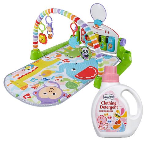 費雪可愛動物小鋼琴健身器+貝恩嬰兒抗菌洗衣精1000ML