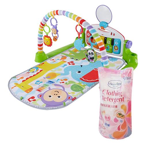 費雪可愛動物小鋼琴健身器+貝恩嬰兒抗菌洗衣精補充包800ML*1包
