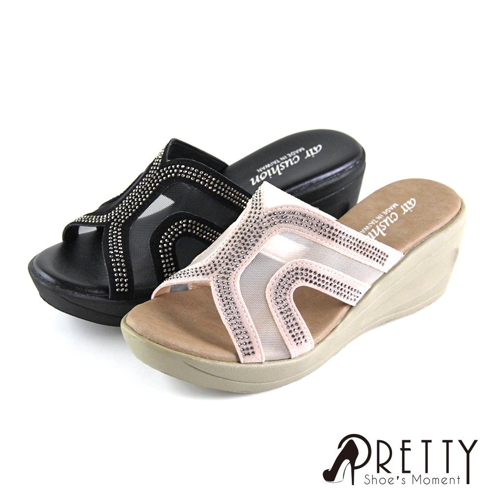 【Pretty】鏤空透膚精緻水鑽楔型拖鞋