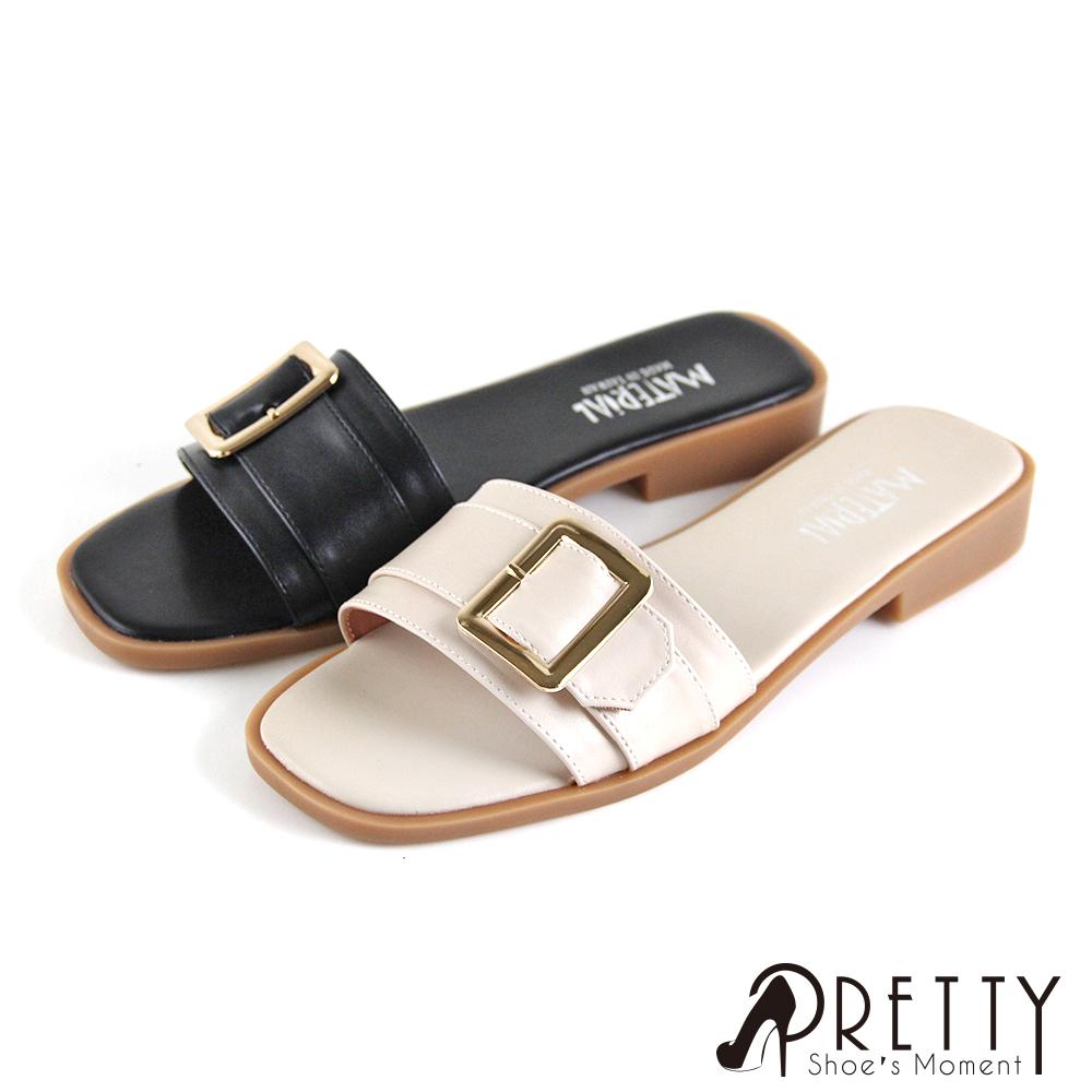 【Pretty】一字金屬皮釦方頭低跟拖鞋