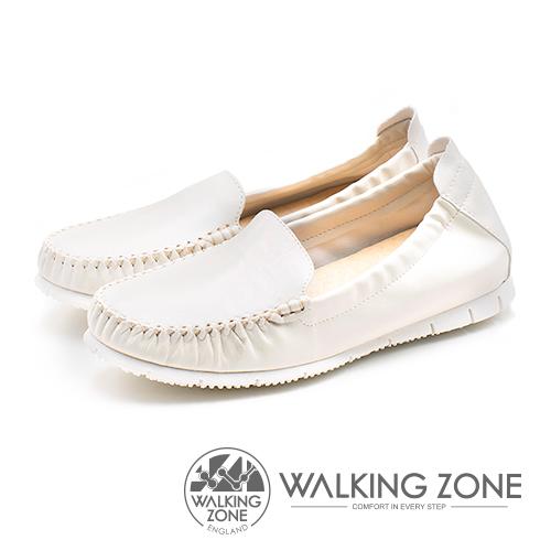 WALKING ZONE (女)柔軟真皮莫卡辛鞋-白(另有鐵灰)
