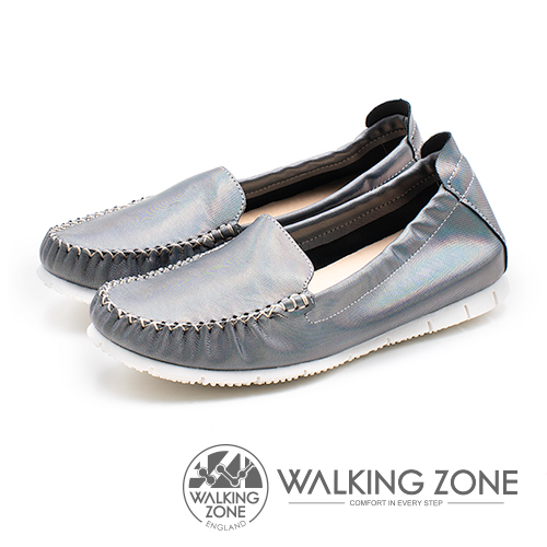 WALKING ZONE (女)柔軟真皮莫卡辛鞋-鐵灰(另有白)