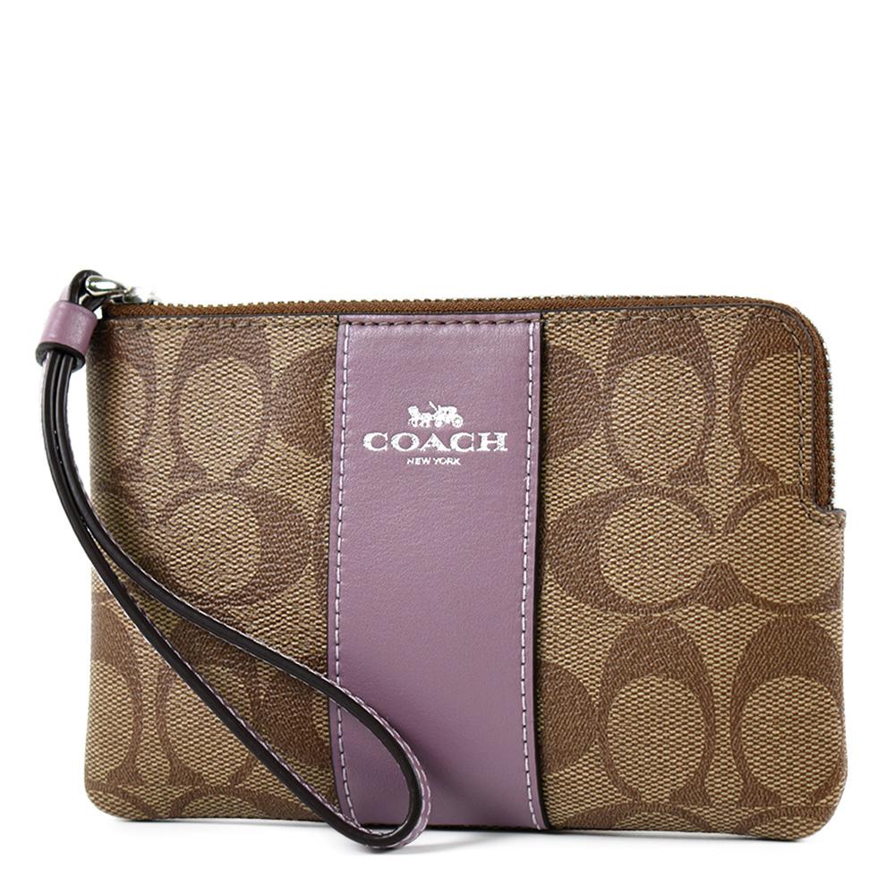 COACH 配色防刮皮革手拿包-茉莉紫