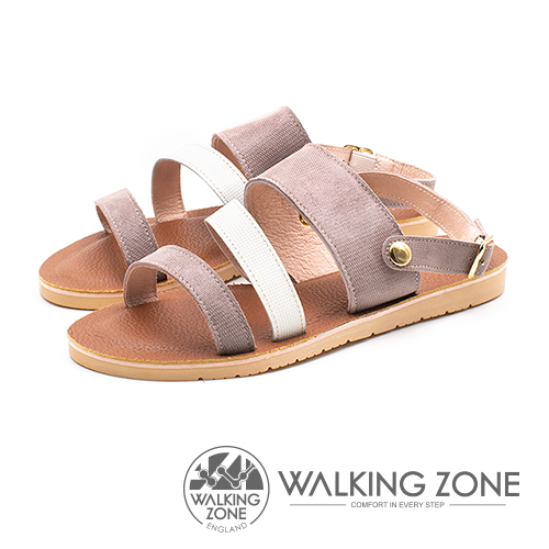 WALKING ZONE (女)三帶同糖果色涼鞋-卡其(另有藍)