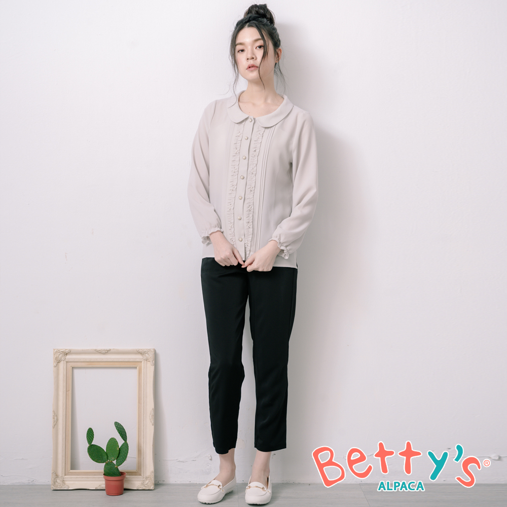 betty's貝蒂思 簡約率性素面長褲(深黑)