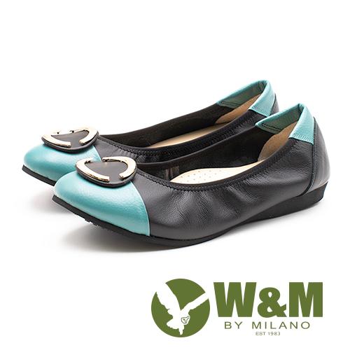 W&M (女)撞色真皮娃娃鞋-黑綠(另有米棕)