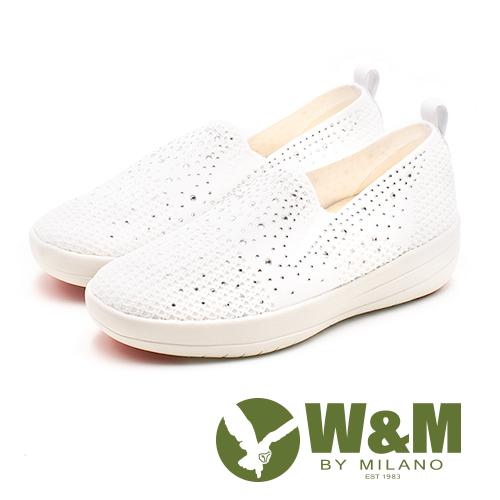 W&M (女)飛線編織厚底鑲鑽增高鞋-白(另有黑/粉)