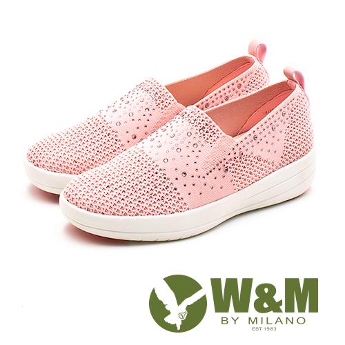 W&M (女)飛線編織厚底鑲鑽增高鞋-粉(另有黑/白)