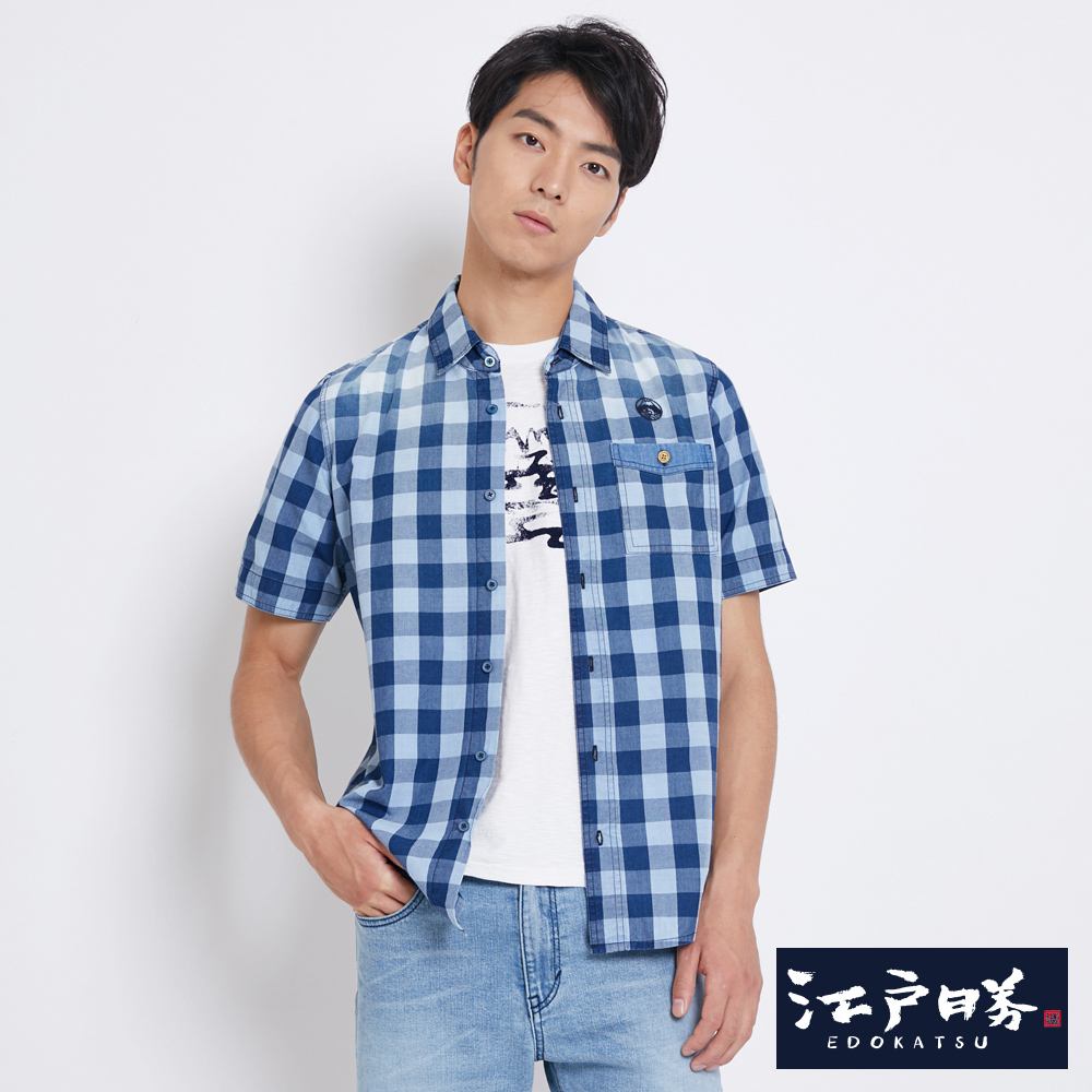 EDWIN 江戶勝 INDIGO 格紋短袖襯衫-男-漂淺藍