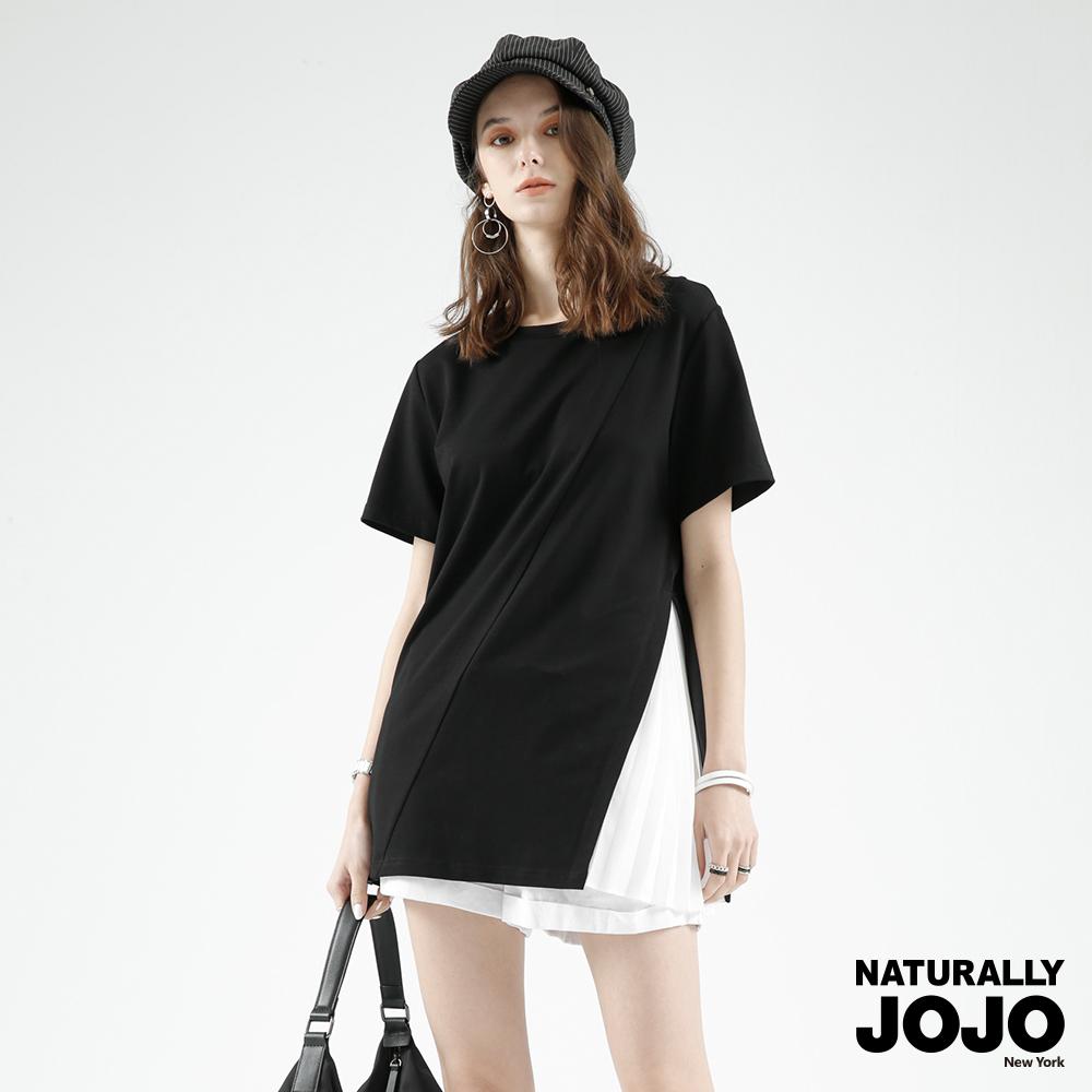 【NATURALLY JOJO】撞色百褶側衩上衣 ( 黑)