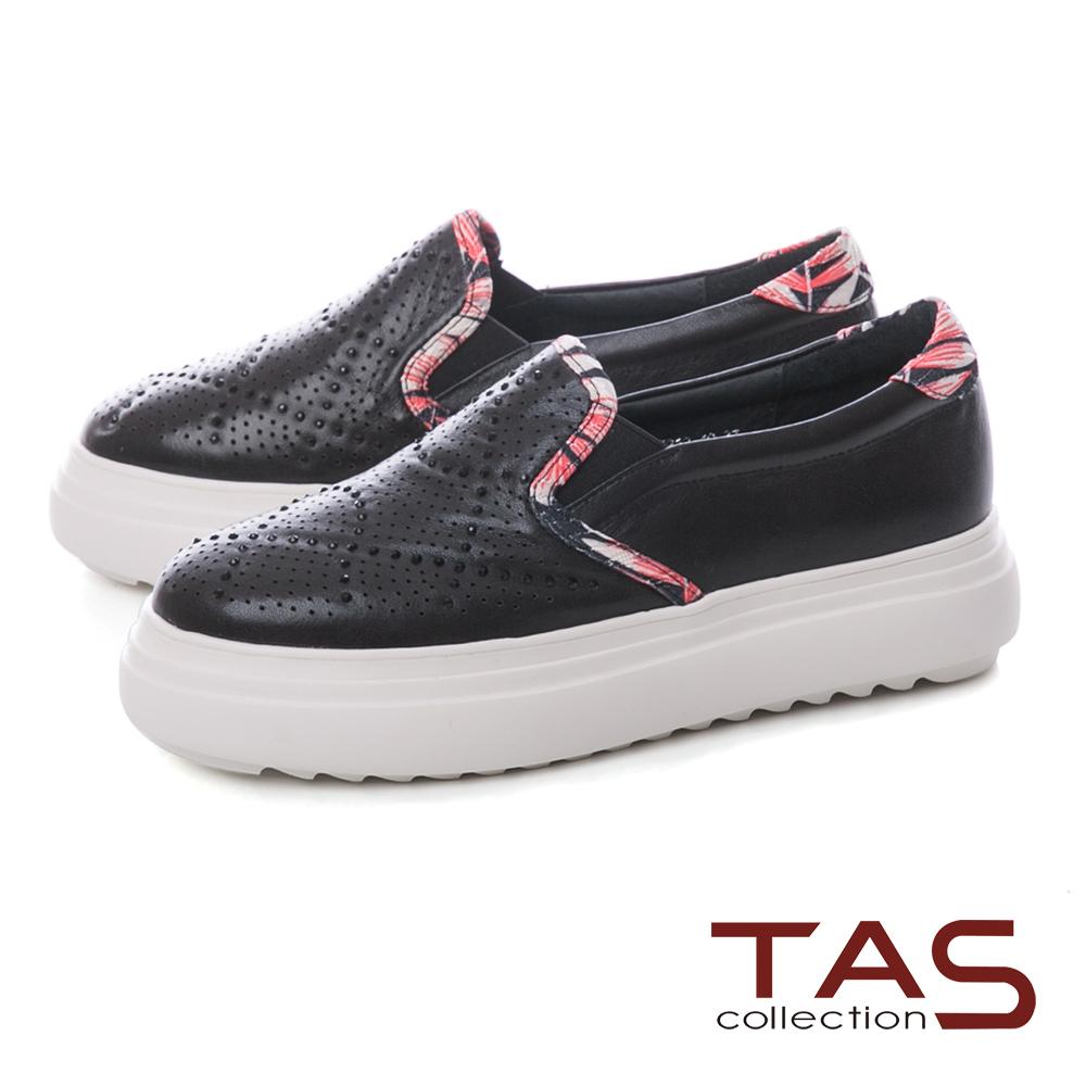 TAS沖孔水鑽拼接花布厚底休閒鞋–低調黑