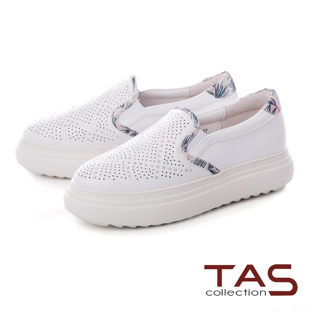 TAS沖孔水鑽拼接花布厚底休閒鞋–夏日白