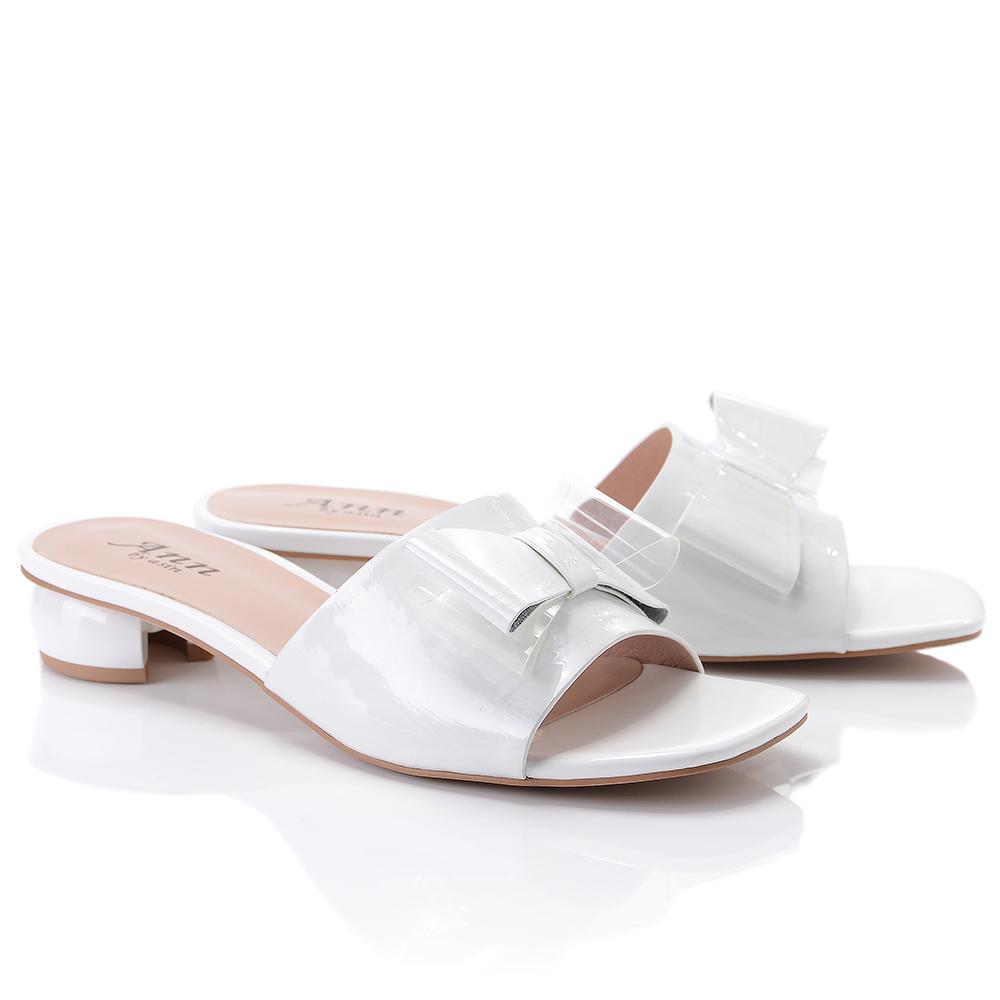 Keeley Ann時尚膠片 蝴蝶結膠片造型圓跟拖鞋(白色921772140-Ann系列)