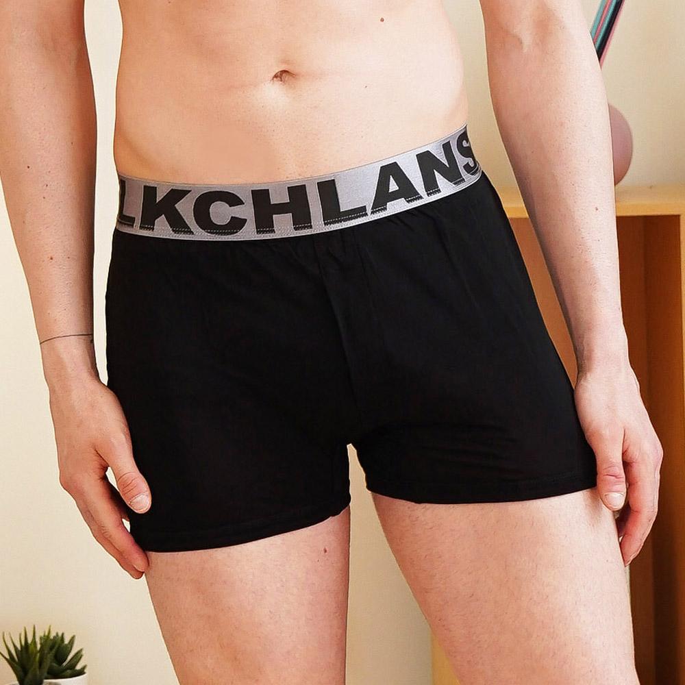 【Chlansilk闕蘭絹】100%蠶絲寬織帶親膚四角平口褲-88993-1M (黑)