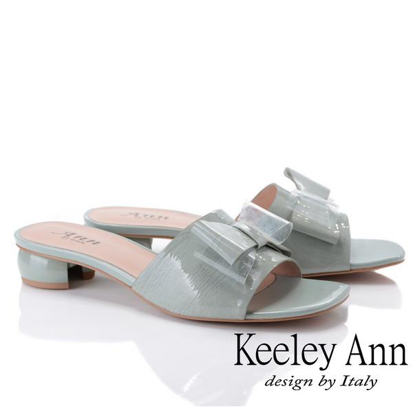 Keeley Ann時尚膠片 蝴蝶結膠片造型圓跟拖鞋(藍色921772160-Ann系列)