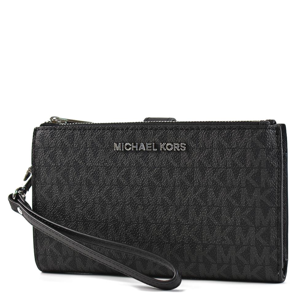 MICHAEL KORS 緹花LOGO防刮皮革對折釦式手掛手拿/手機包-黑色