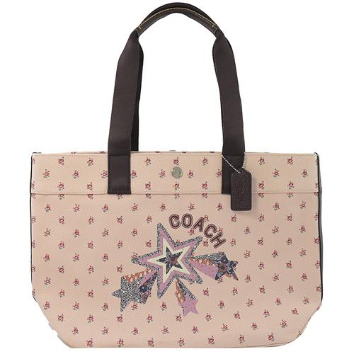 COACH 專櫃款 大款 小碎花系列皮飾邊托特購物包.粉