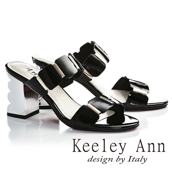 Keeley Ann氣質名媛 一字幾何方形素面高跟拖鞋(黑色)(921932210-Ann系列)