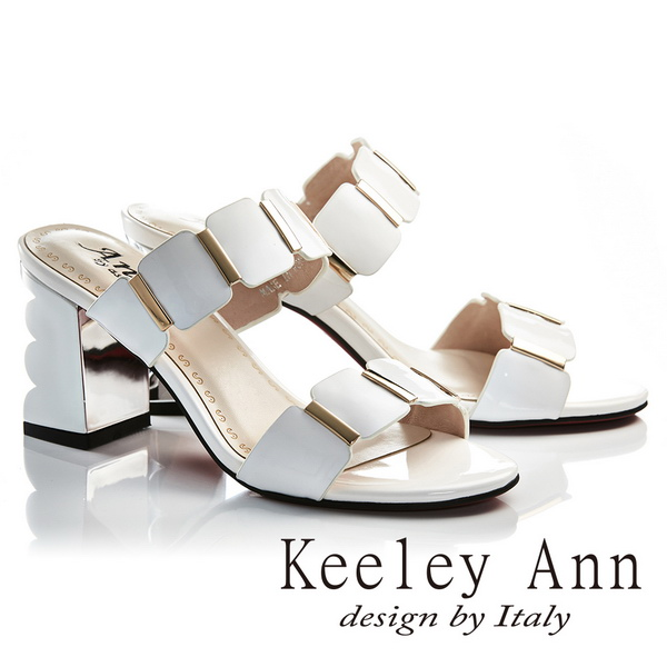 Keeley Ann氣質名媛 一字幾何方形素面高跟拖鞋(白色)(921932240-Ann系列)